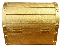 Treasure Chest Box, Wooden, Decorative Gold Metallic with Coins & Key Motivational, Inspirational
