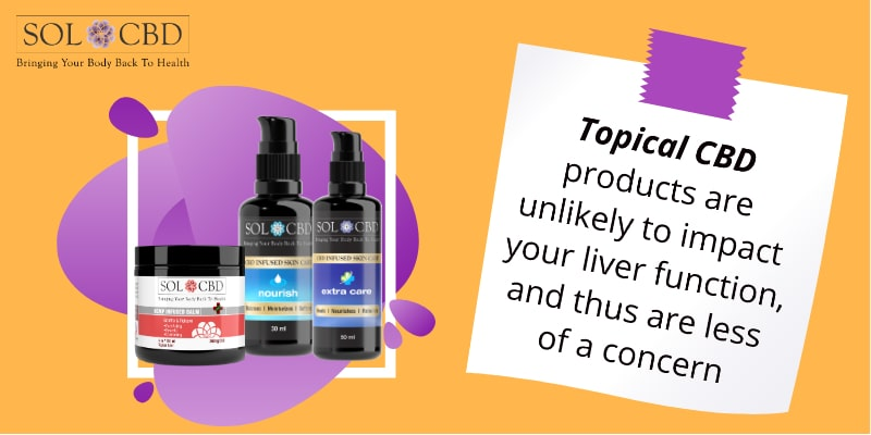 Topical CBD products are unlikely to impact your liver function, and thus are less of a concern.
