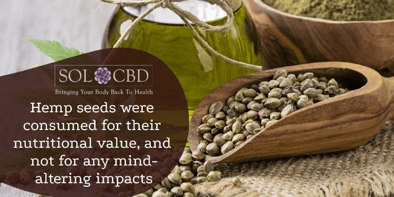 Hemp seeds were consumed for their nutritional value, and not for any mind-altering impacts.