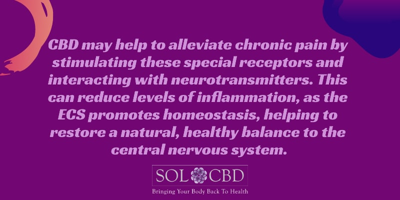CBD may help to alleviate chronic pain by stimulating CB1 and CB2 receptors.
