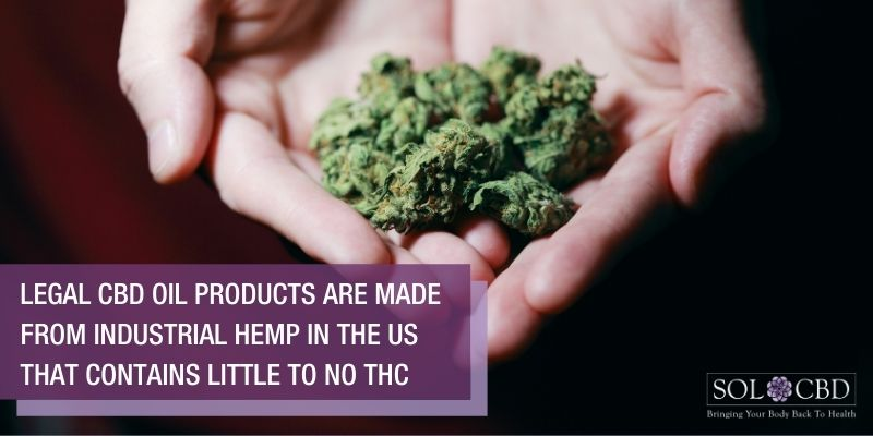 Legal CBD oil products are made from industrial hemp in the US.
