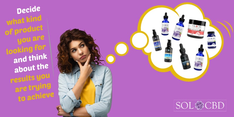 Decide what kind of CBD product you are looking for and think about the results you are trying to achieve.