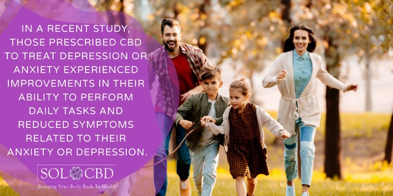 Those prescribed CBD to treat depression or anxiety experienced improvements in their ability to perform daily tasks and reduced symptoms related to their anxiety or depression.
