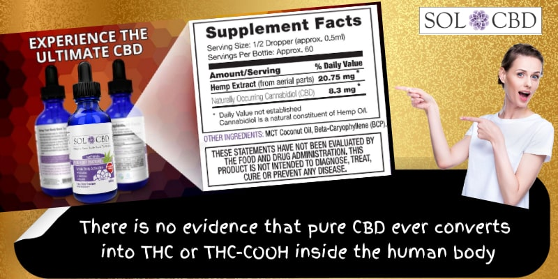 There is no evidence that pure CBD ever converts into THC or THC-COOH inside the human body.