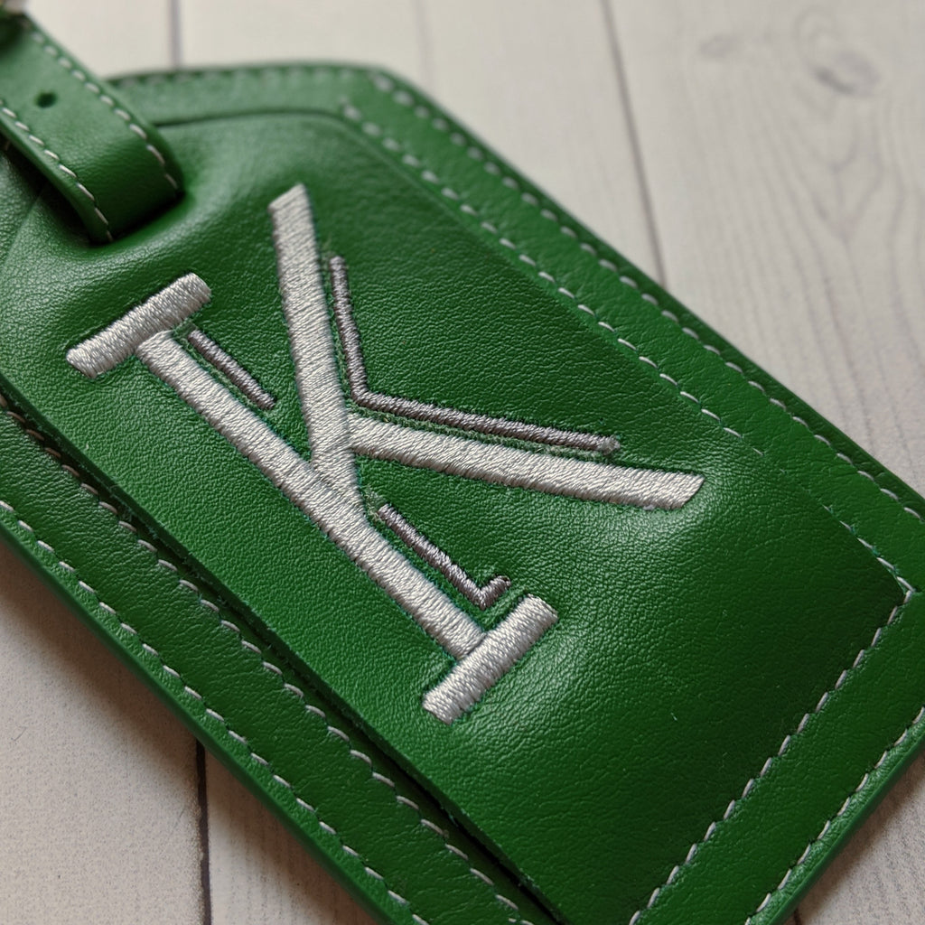 Embroidered Leather Luggage Tags