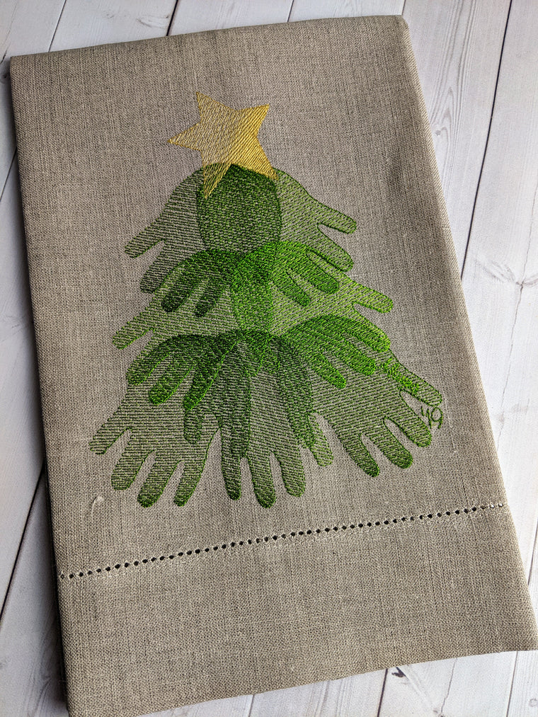 Handprint Tree Embroidered Towel