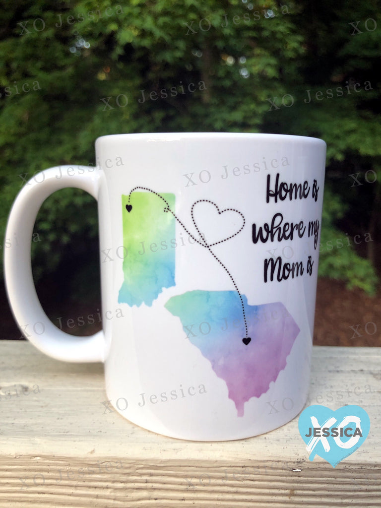 Home is where my mom is...watercolor mug