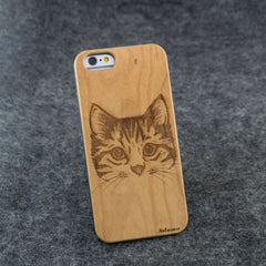 iPhone 6 / 6S Cat Slim Wood Case - NOLACASE