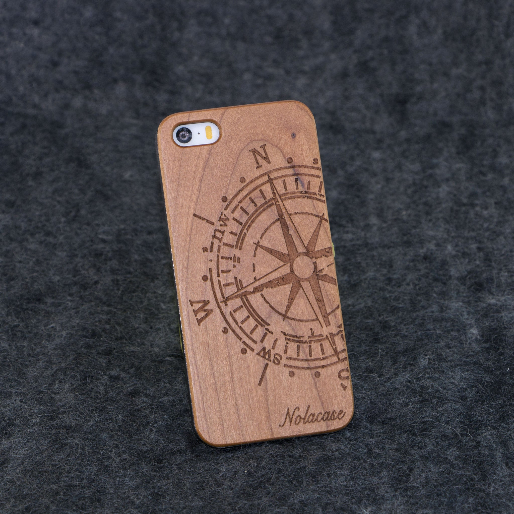 iPhone 5 / 5S Big Compass Slim Wood Case - NOLACASE