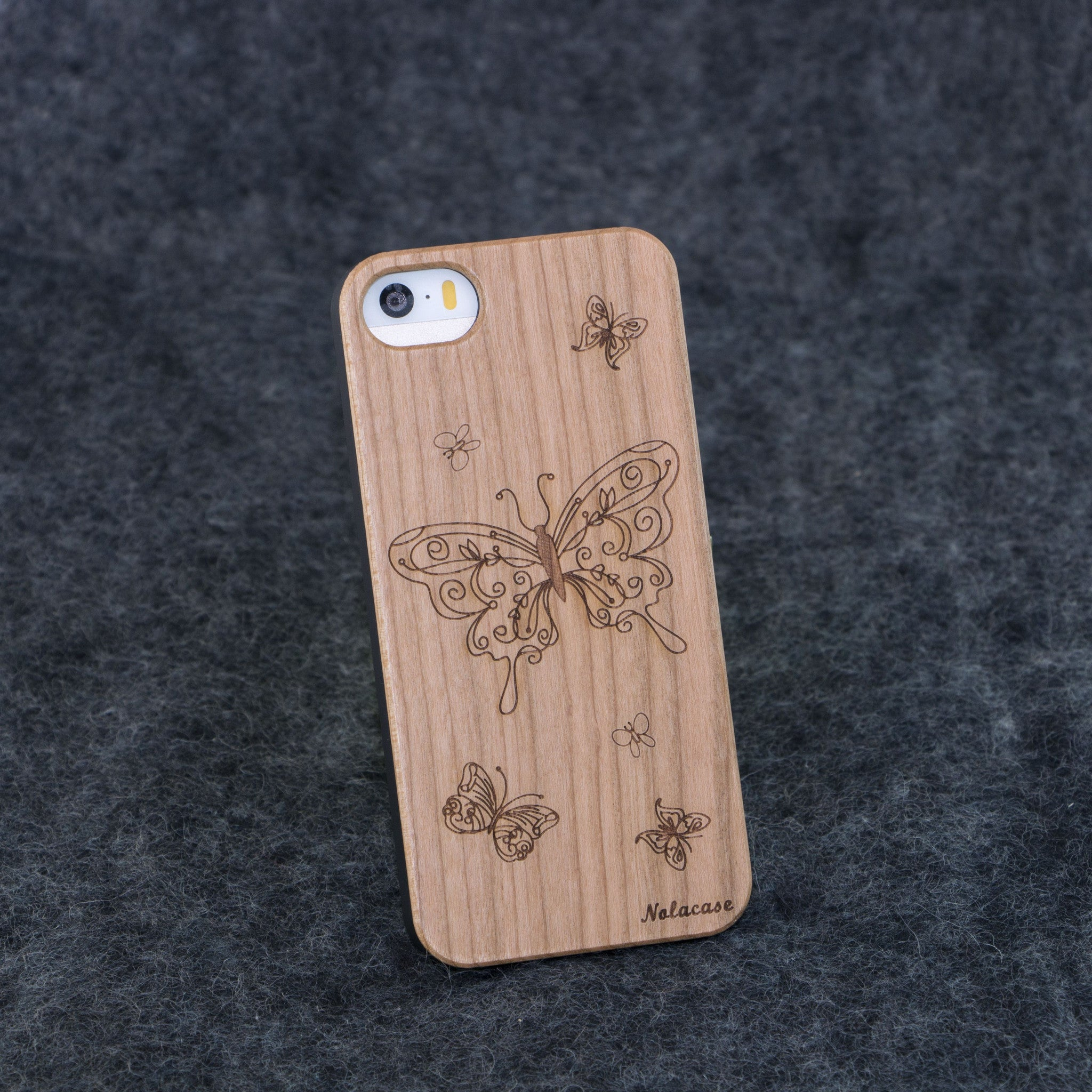 iPhone 5 / 5S Butterflies Slim Wood Case - NOLACASE