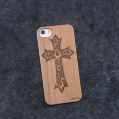iPhone 5 / 5S Floral Cross Slim Wood Case - NOLACASE