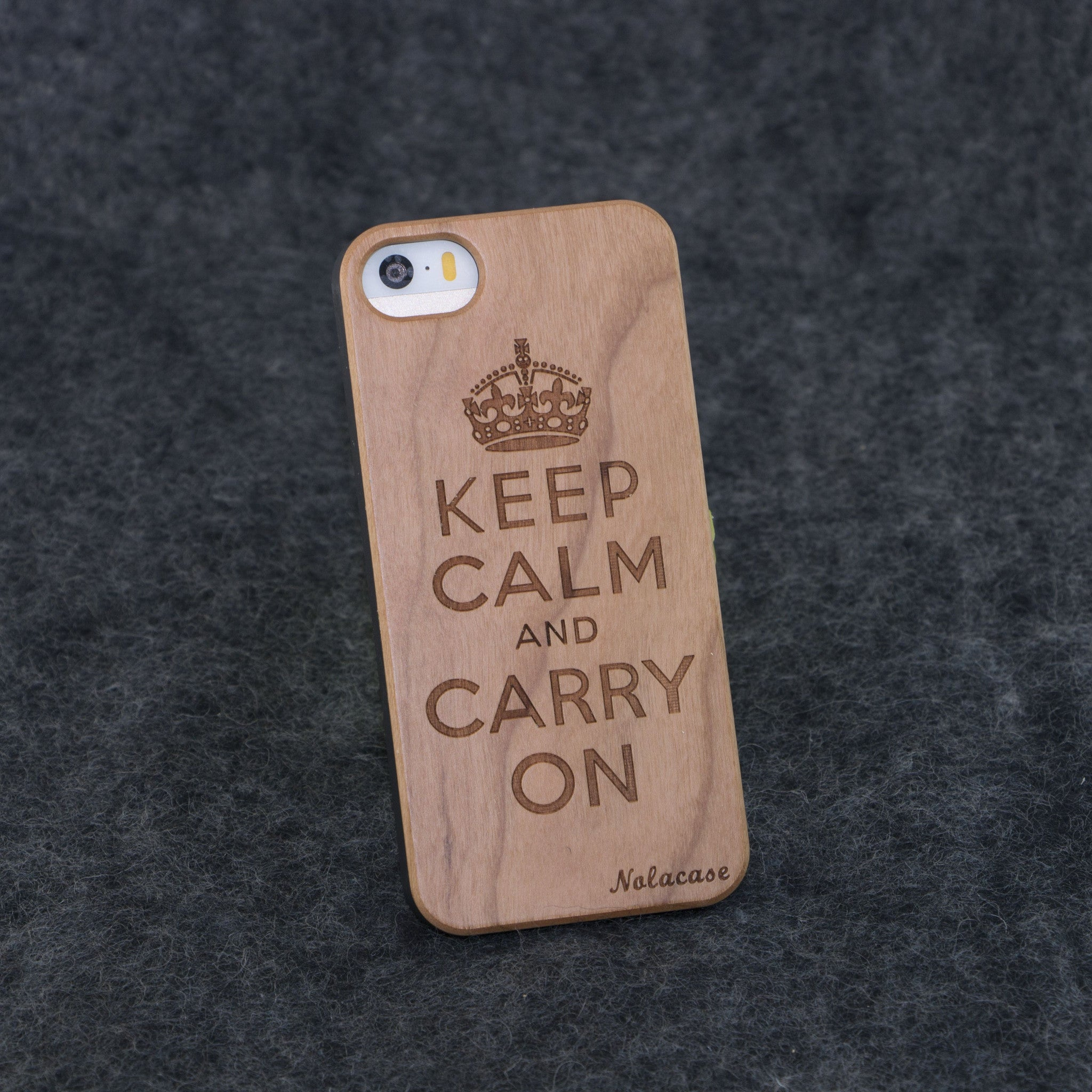 iPhone 5 / 5S Keep Calm and Carry On Slim Wood Case - NOLACASE