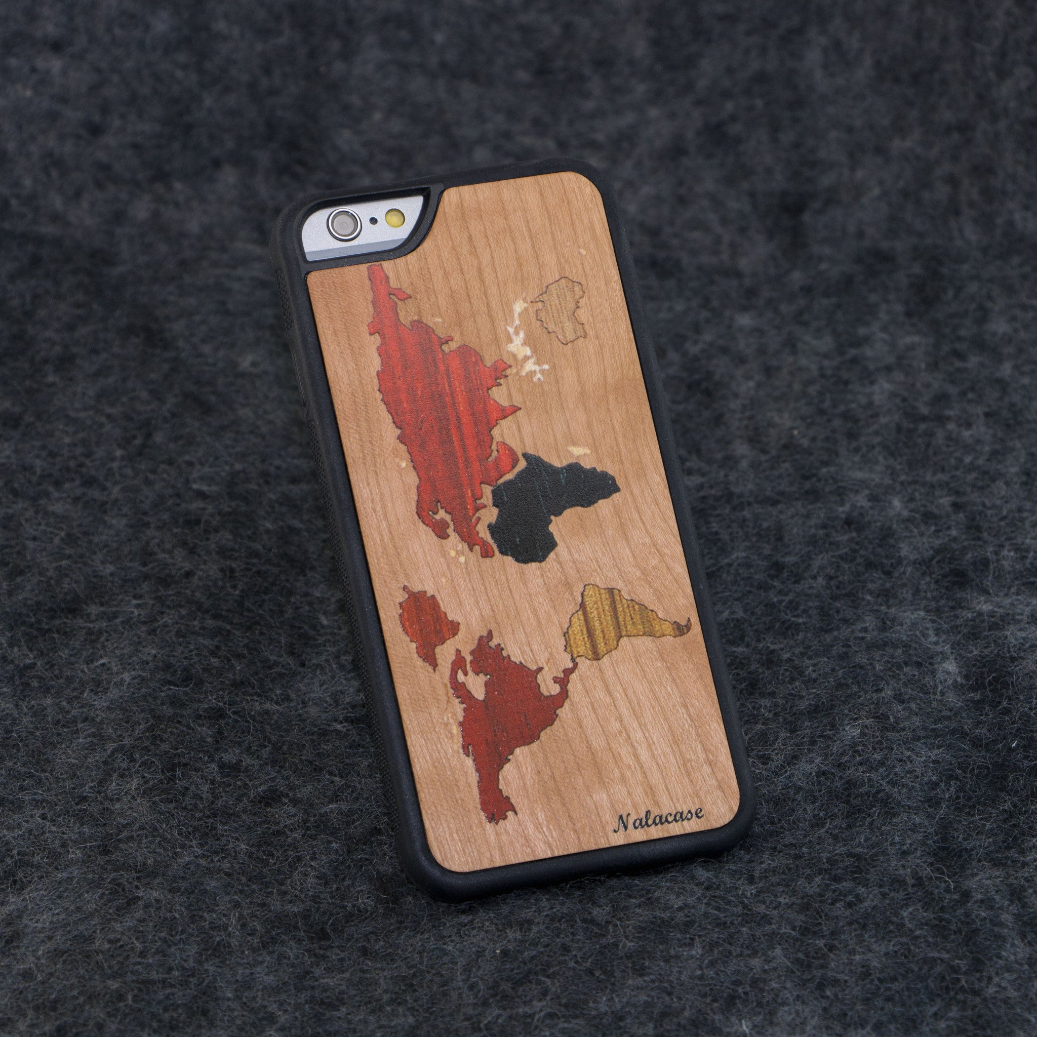 iPhone 6 / 6S World Map Color Slim Wood Case - NOLACASE