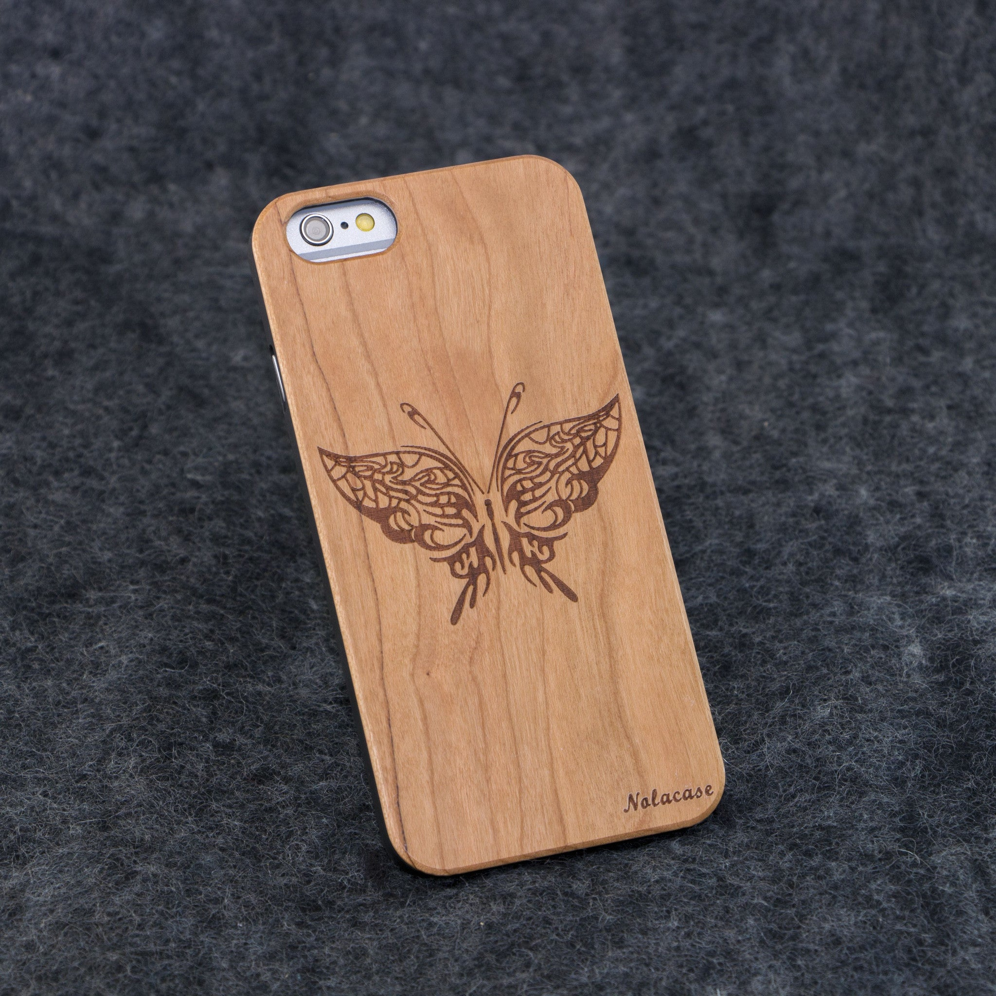 iPhone 6 / 6S Butterfly Slim Wood Case - NOLACASE