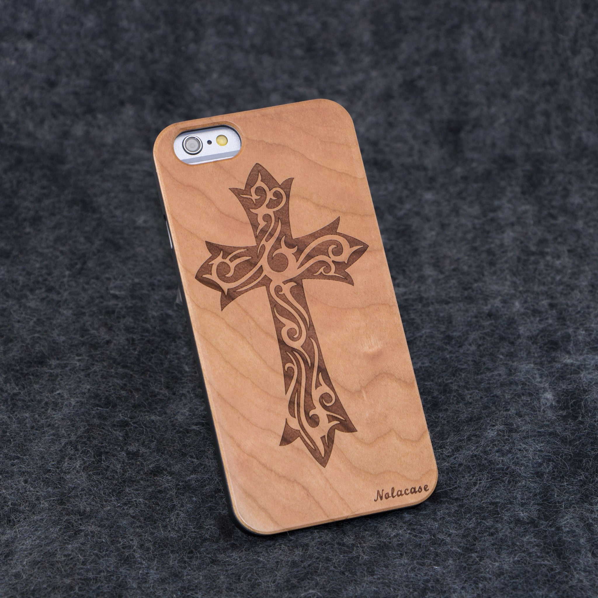 iPhone 6 / 6S Floral Cross Slim Wood Case - NOLACASE