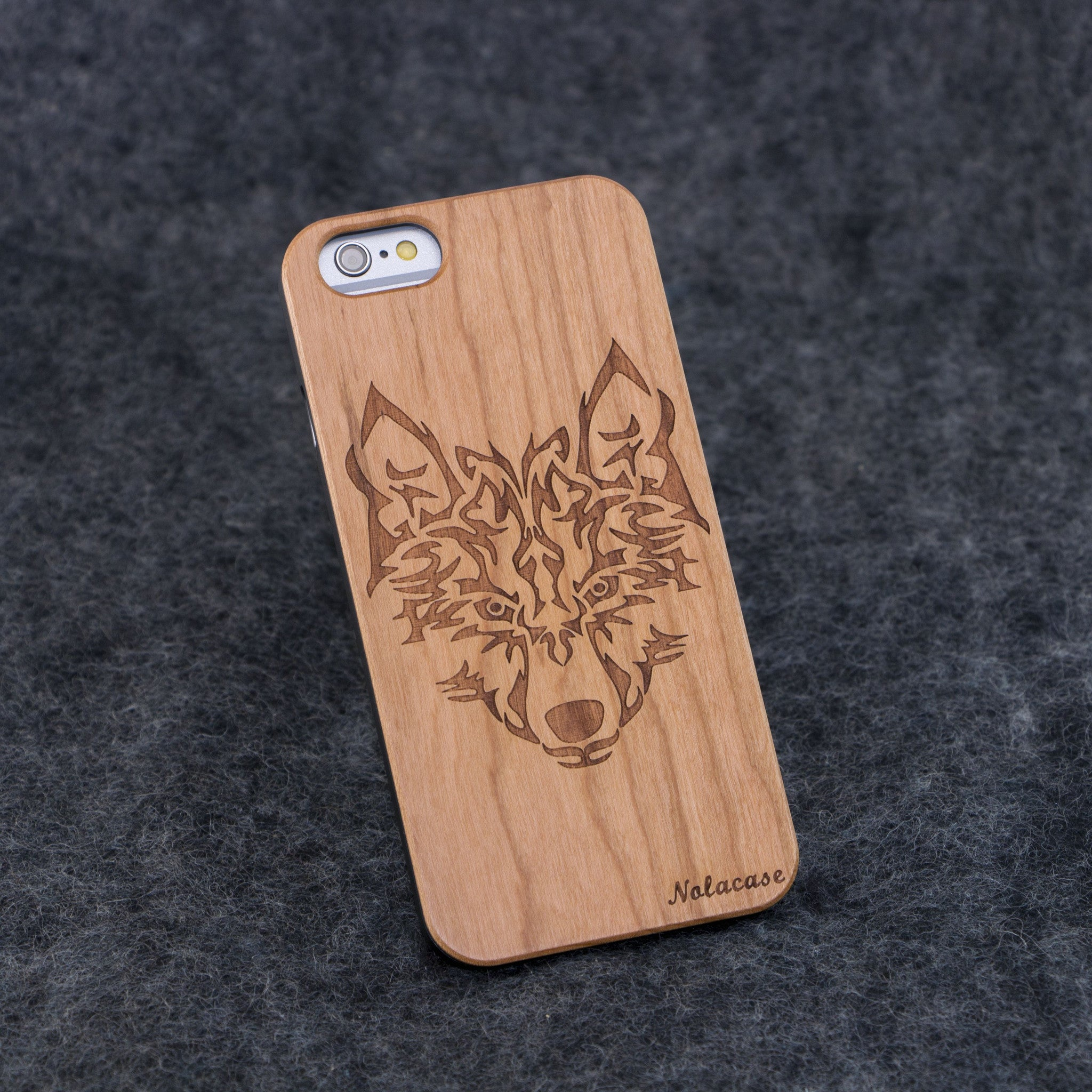 iPhone 6 / 6S Wolf Head Slim Wood Case - NOLACASE - 1