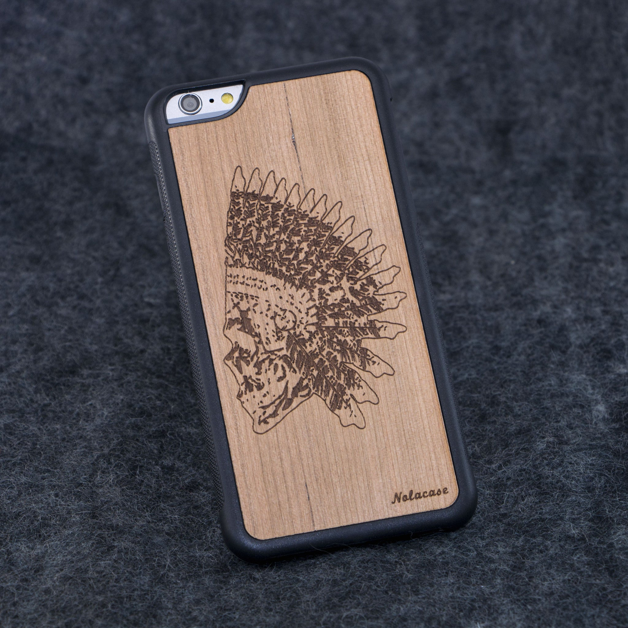 iPhone 6+ Indian Skull Traveler Wood Case - NOLACASE