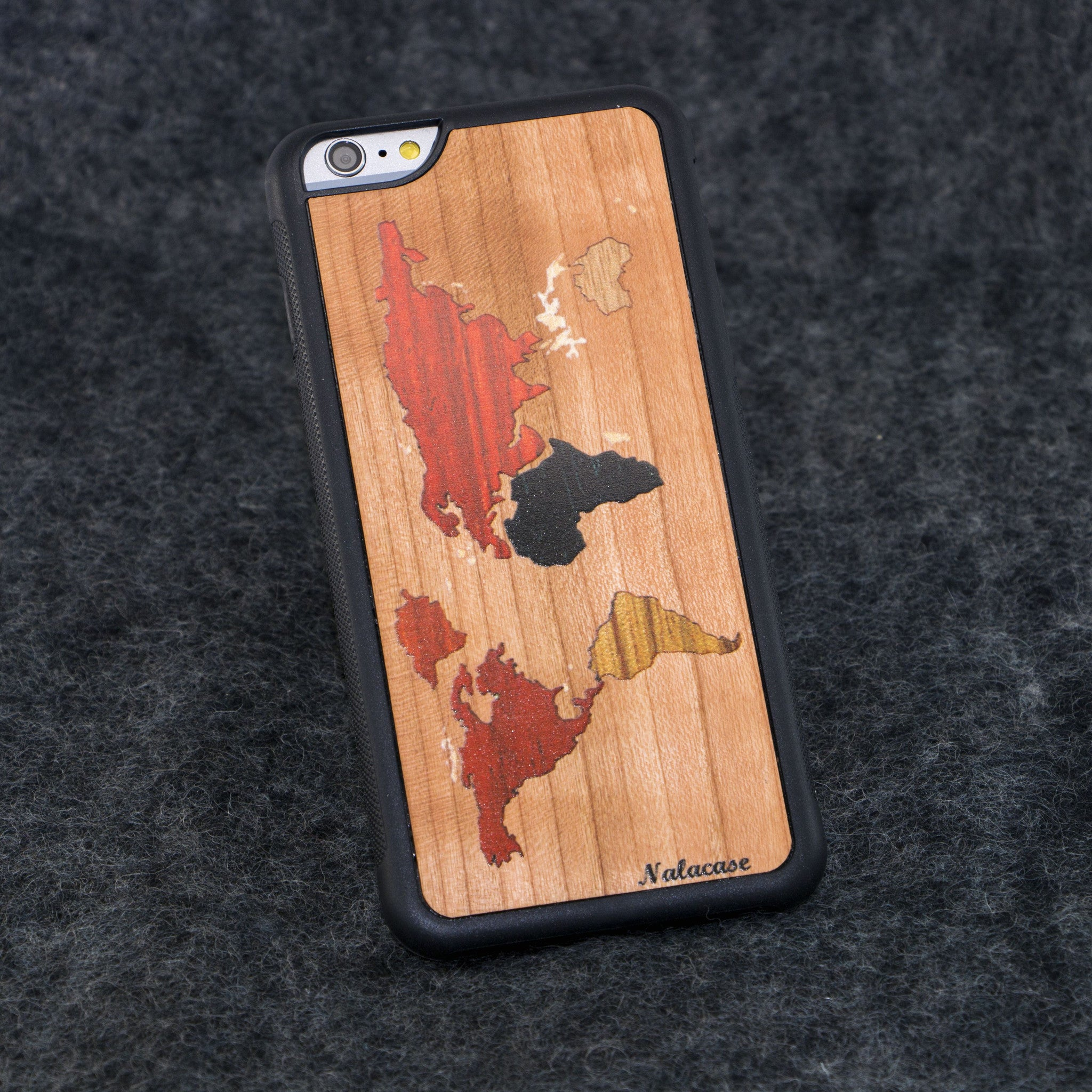 iPhone 6+ World Map Traveler Color Wood Case - NOLACASE
