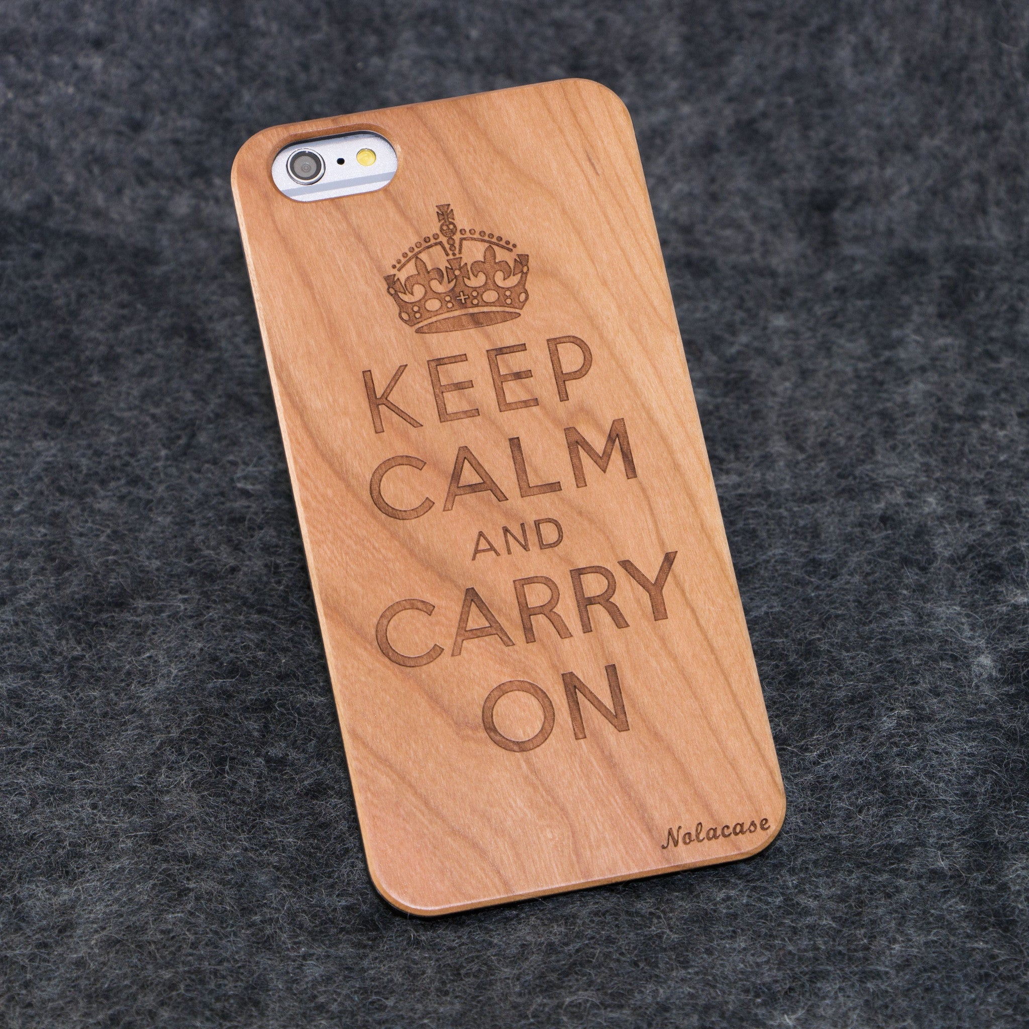 iPhone 6+ Keep Calm and Carry on Slim Wood Case - NOLACASE - 1