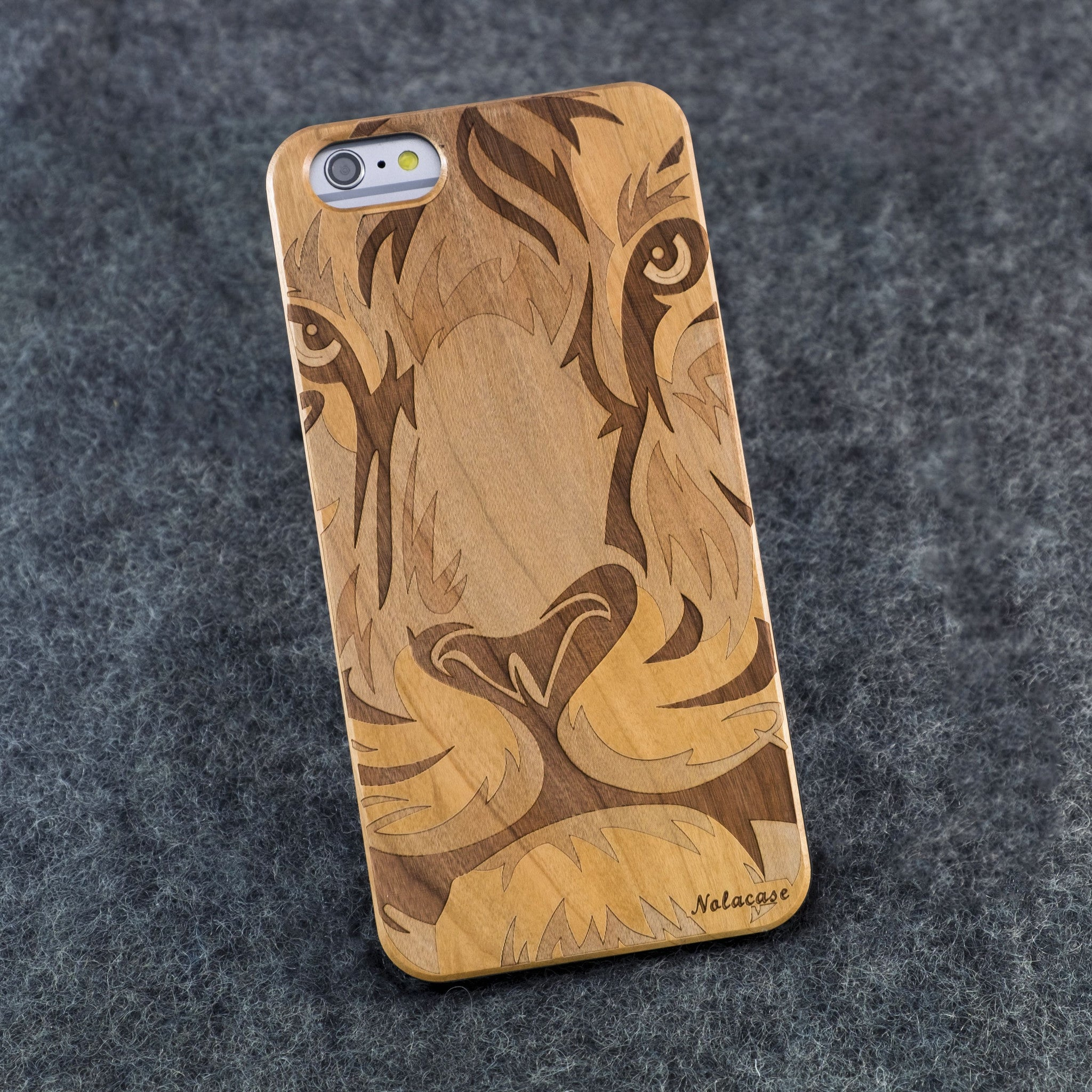 iPhone 6+ Lion Face Slim Wood Case - NOLACASE