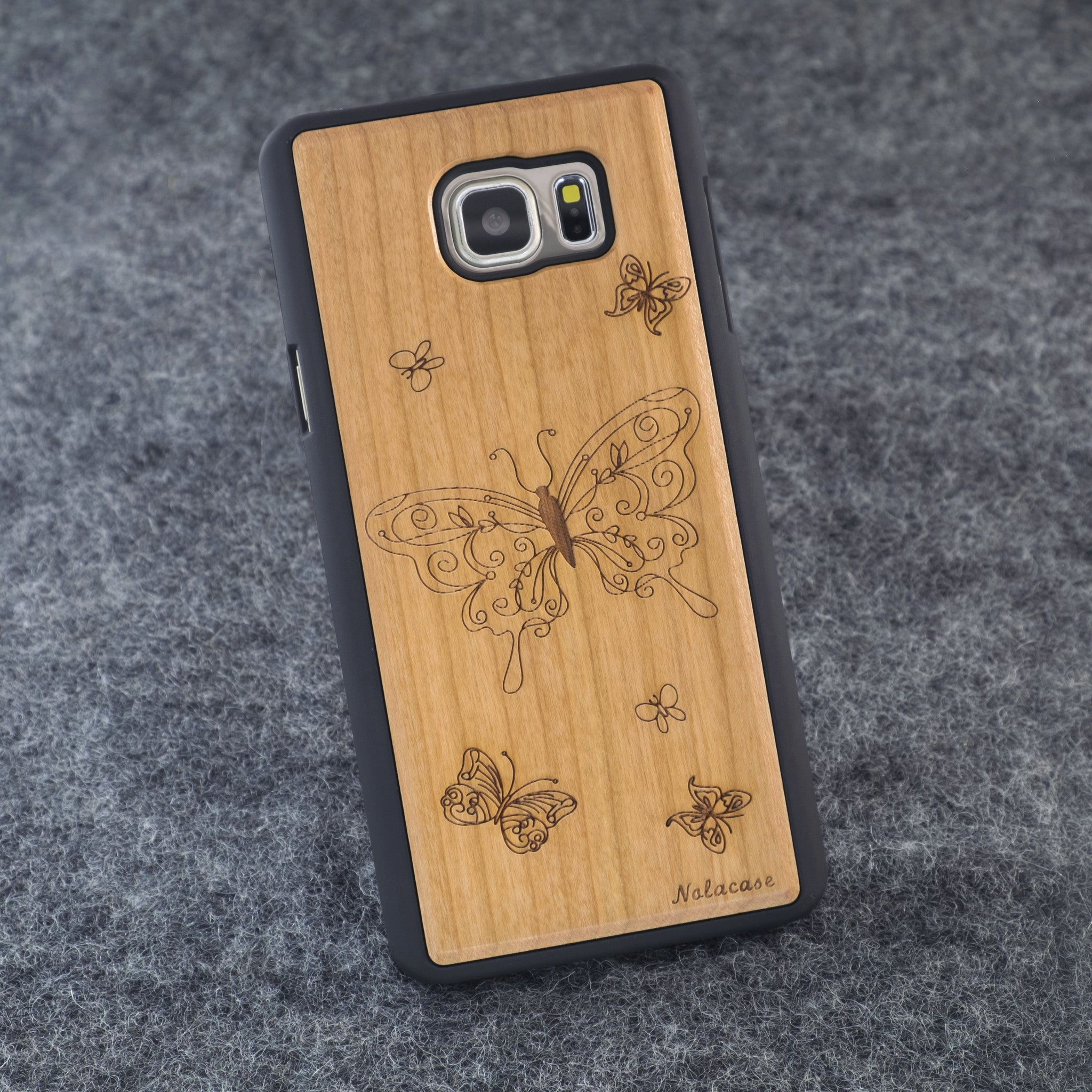 Samsung Note 5 Butterflies Slim Wood Case - NOLACASE