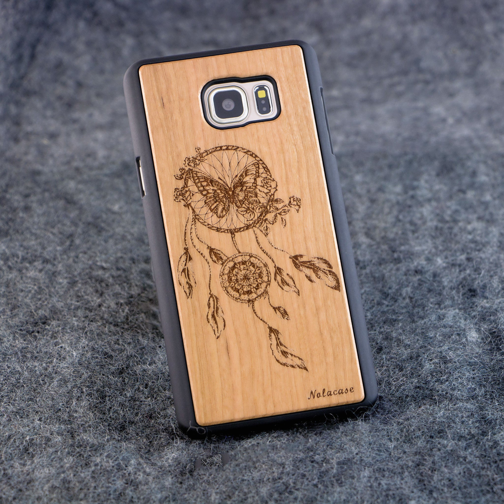 Samsung Note 5 Dream Catcher with Butterfly Slim Wood Case - NOLACASE