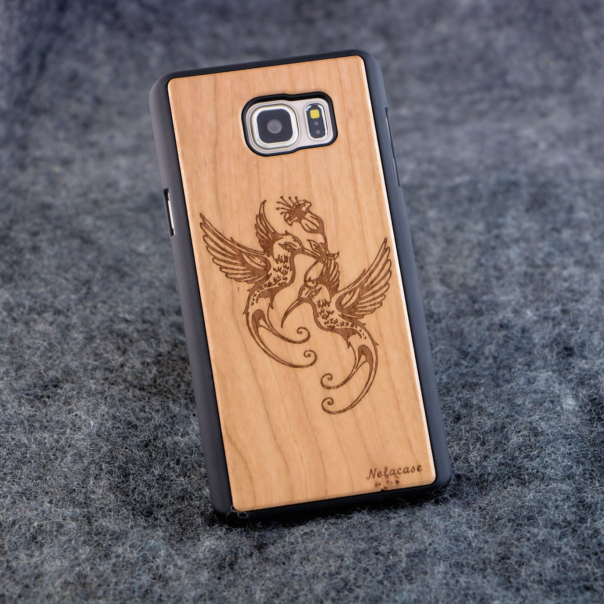 Samsung Note 5 Humming Birds Slim Wood Case - NOLACASE