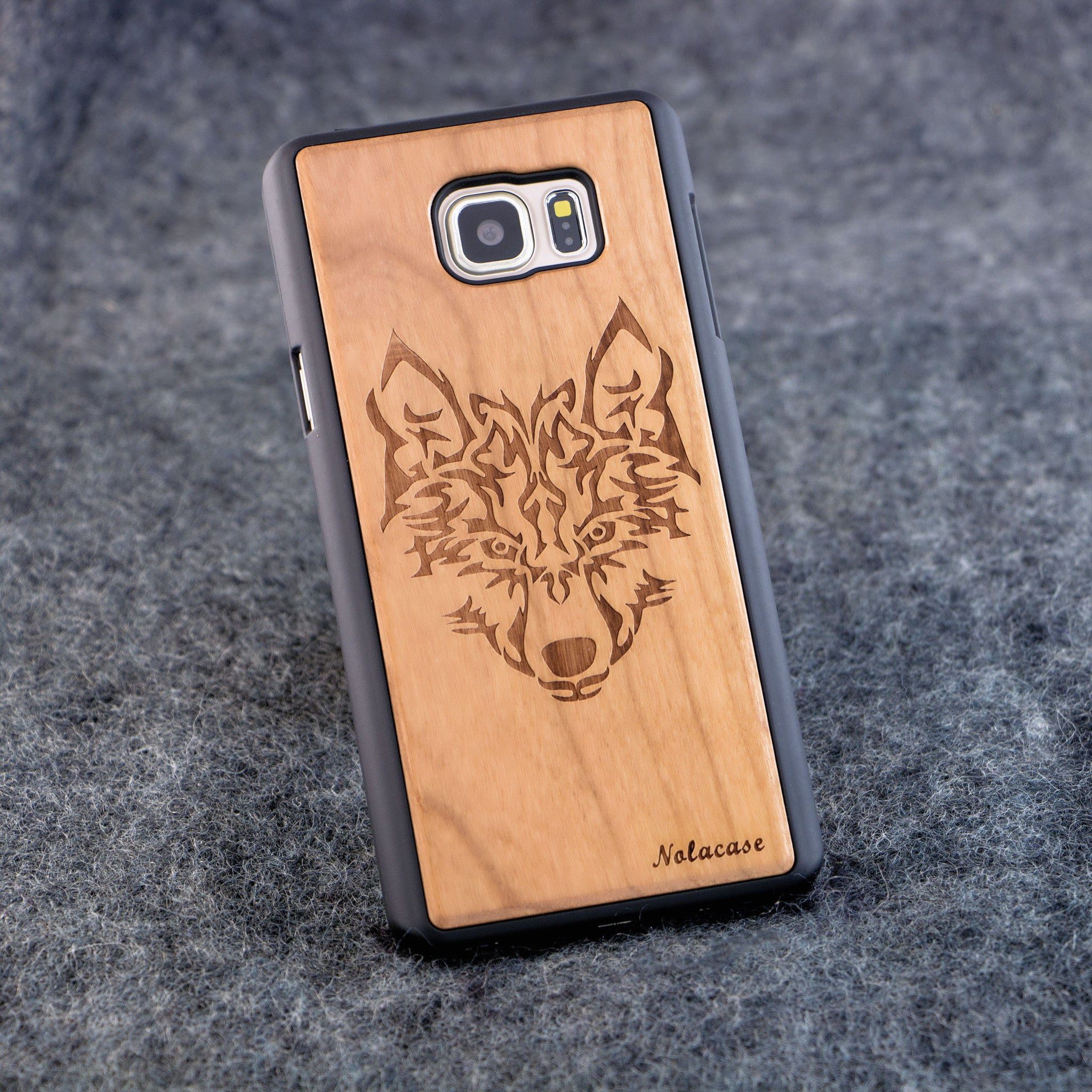 Samsung Note 5 Wolf Head Slim Wood Case - NOLACASE