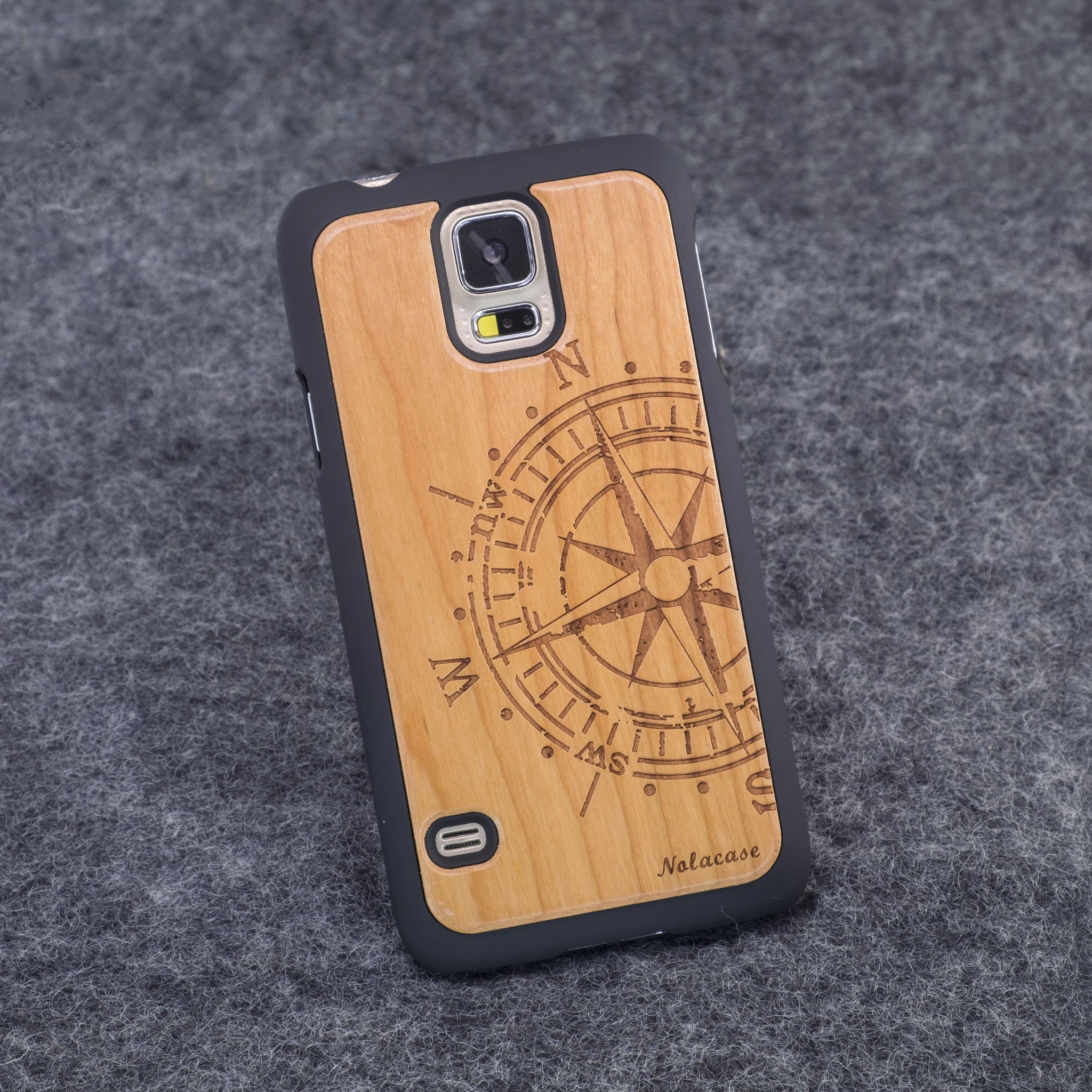 Samsung S5 Big Compass Slim Wood Case - NOLACASE
