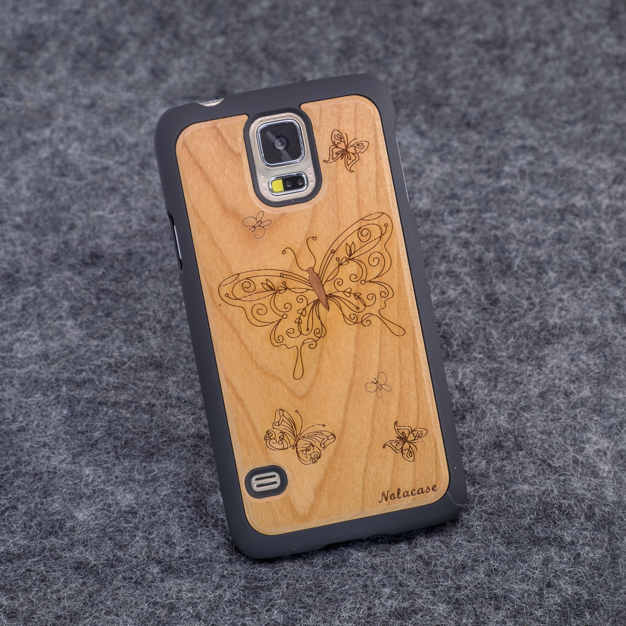 Samsung S5 Butterflies Slim Wood Case - NOLACASE