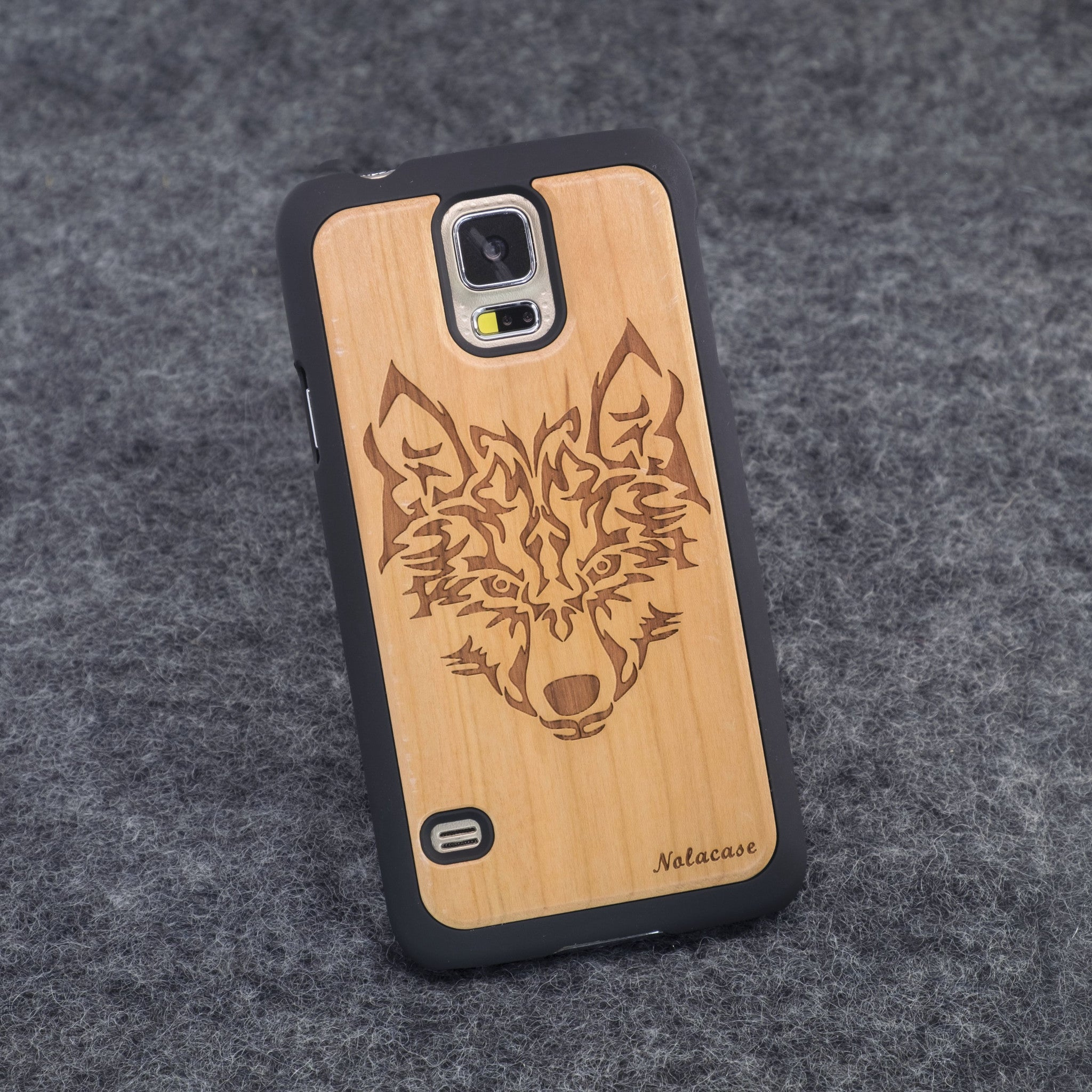 Samsung S5 Wolf Head Slim Wood Case - NOLACASE