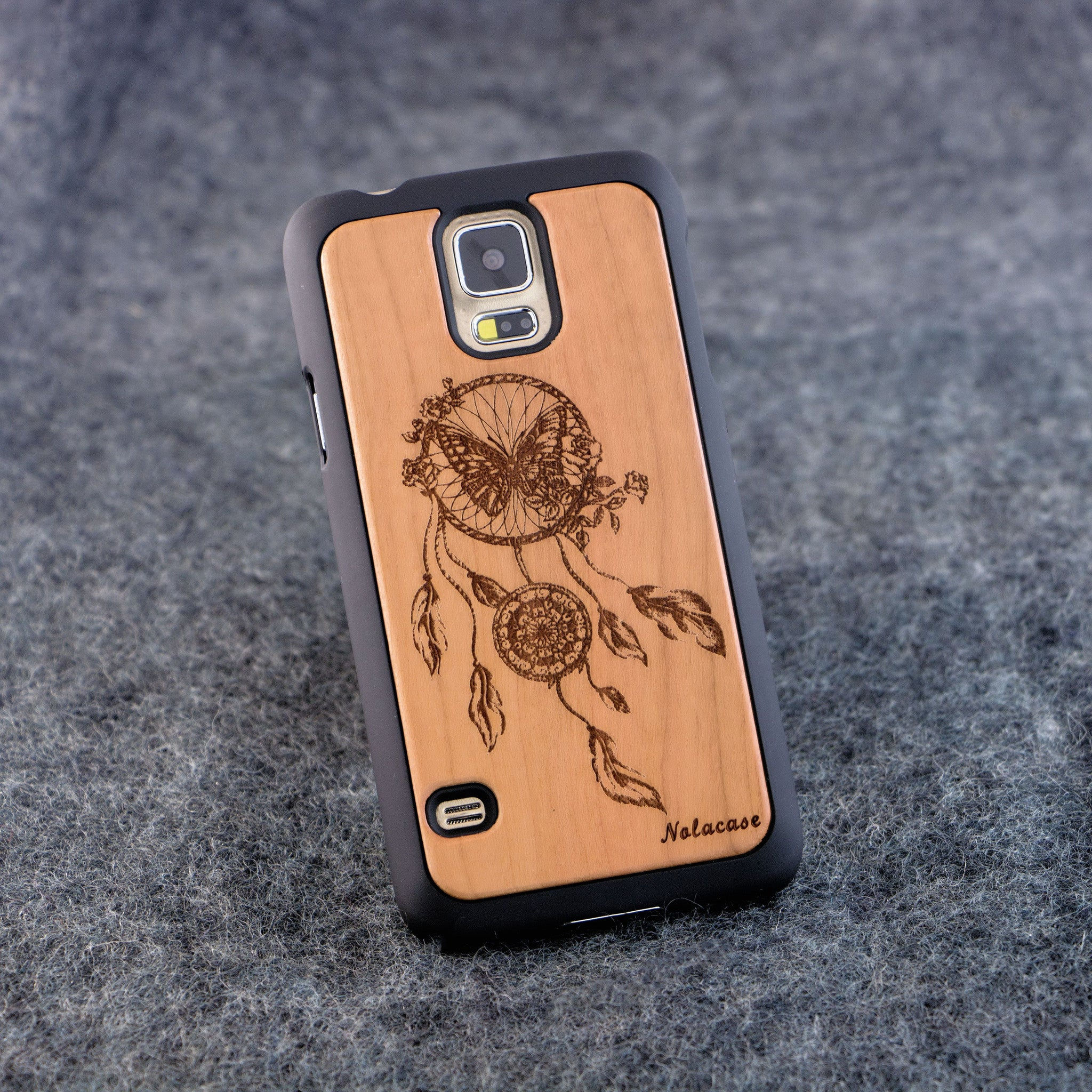 Samsung S5 Dream Catcher with Butterfly Slim Wood Case - NOLACASE