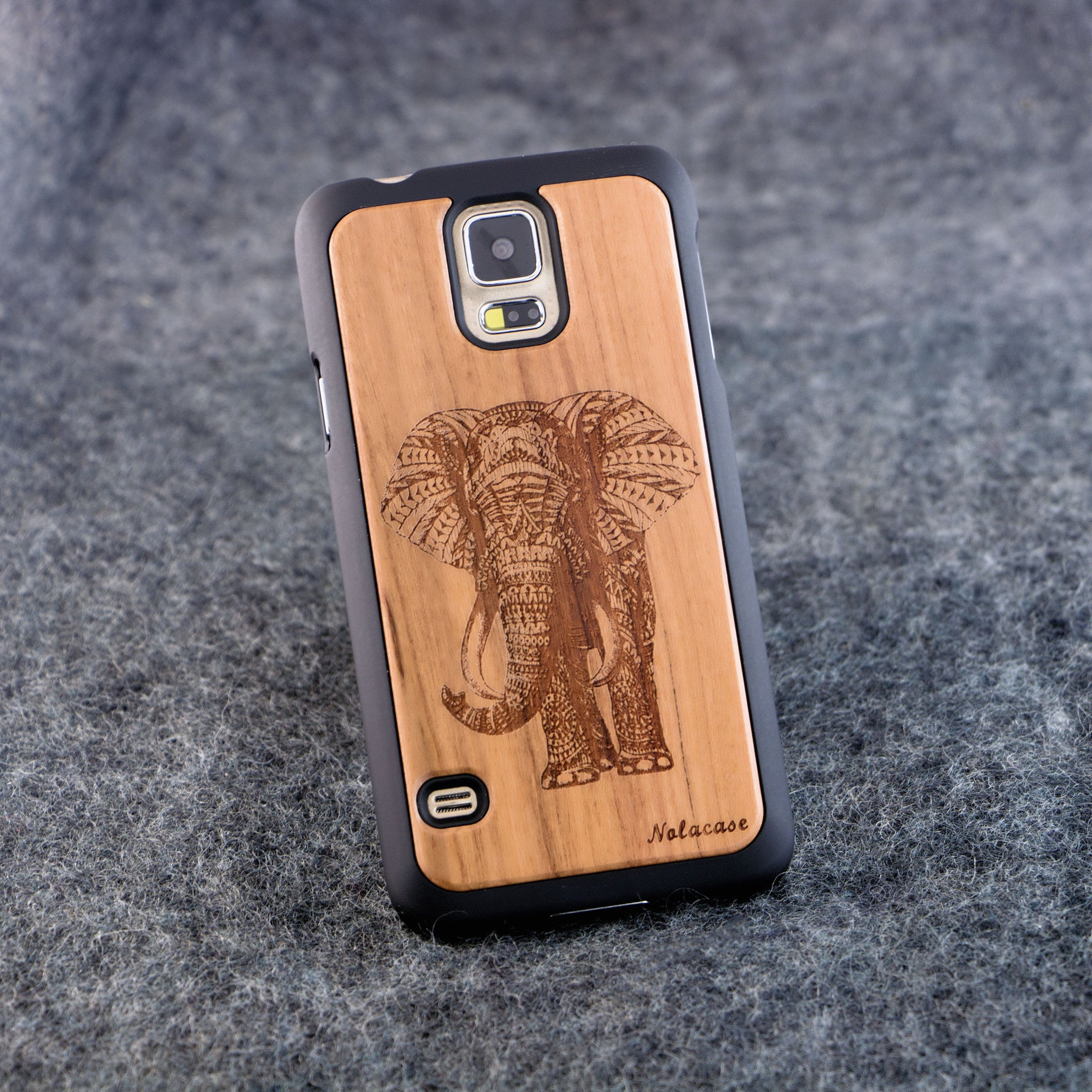 Samsung S5 Elephant Slim Wood Case - NOLACASE