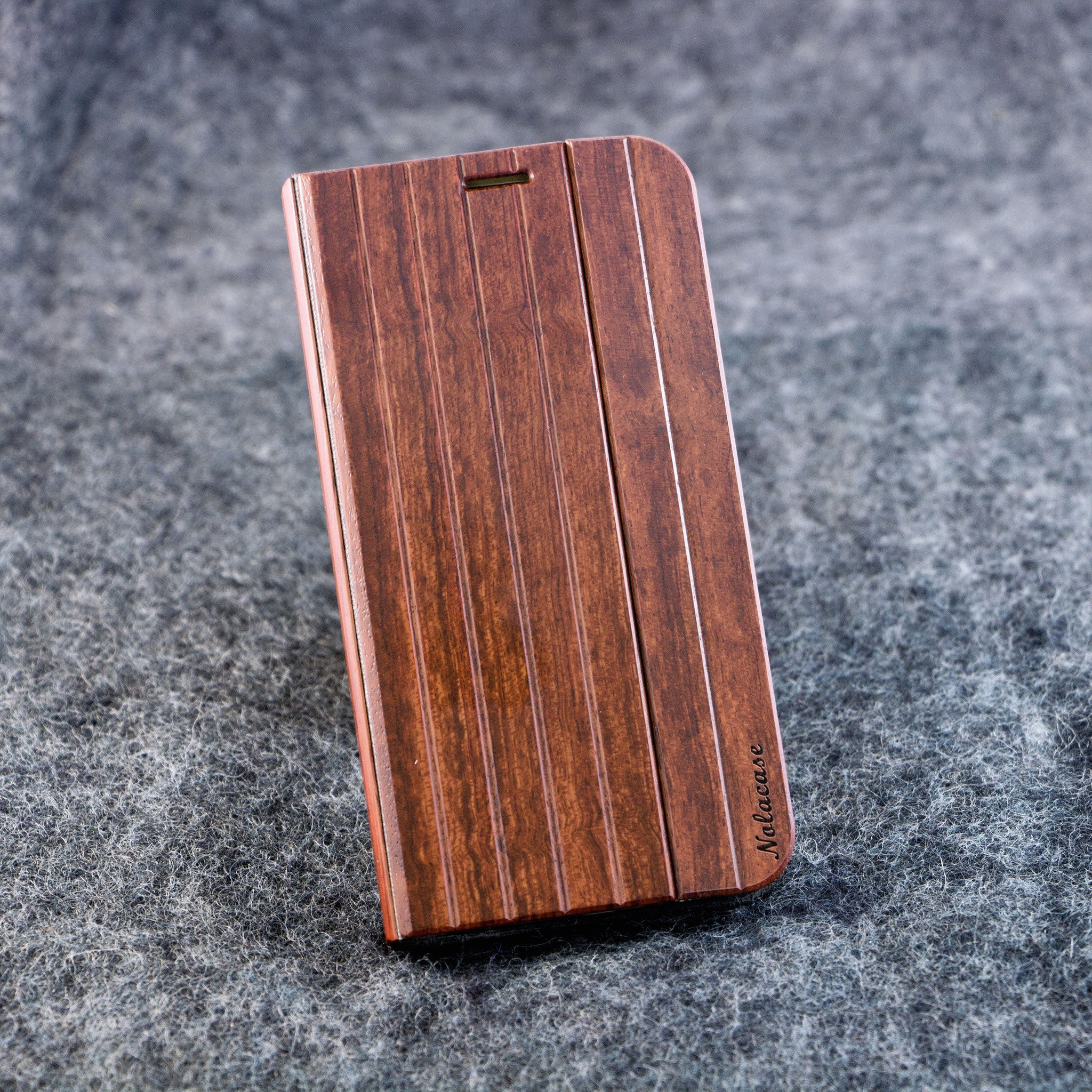 Samsung S6 Edge Walnut Flip Wood Case - NOLACASE - 1