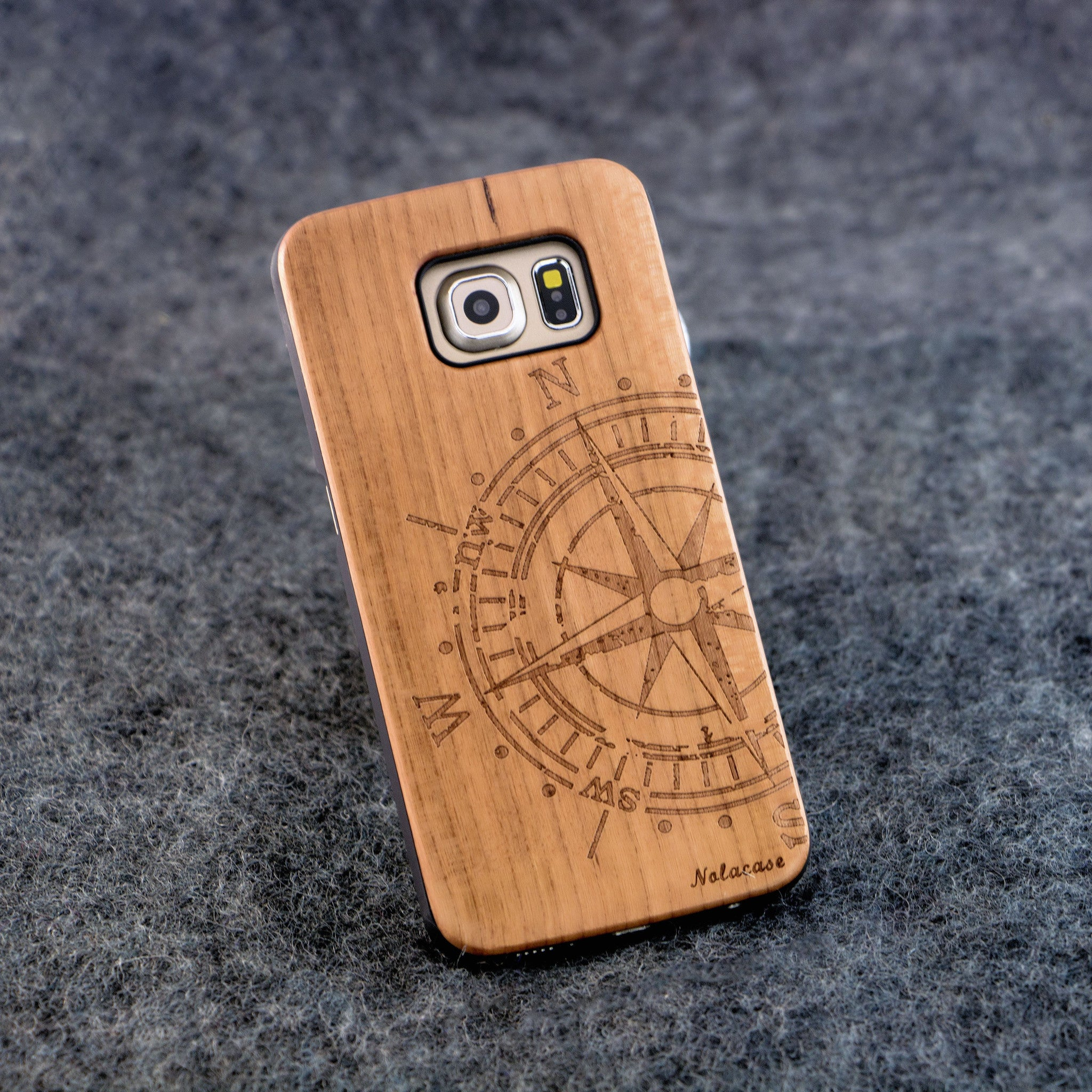 Samsung S6 Edge Big Compass Wood Case - NOLACASE