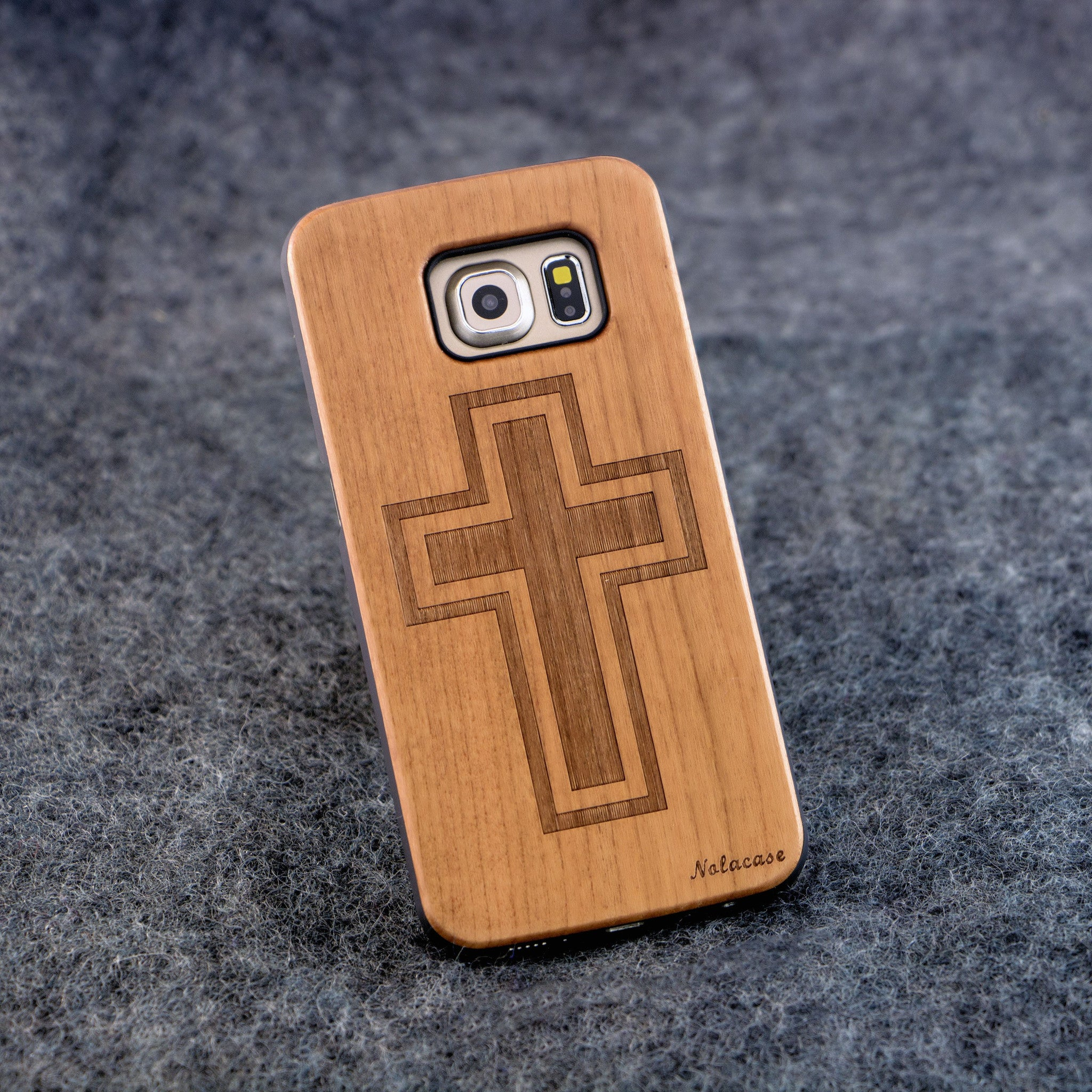 Samsung S6 Edge Cross Wood Case - NOLACASE
