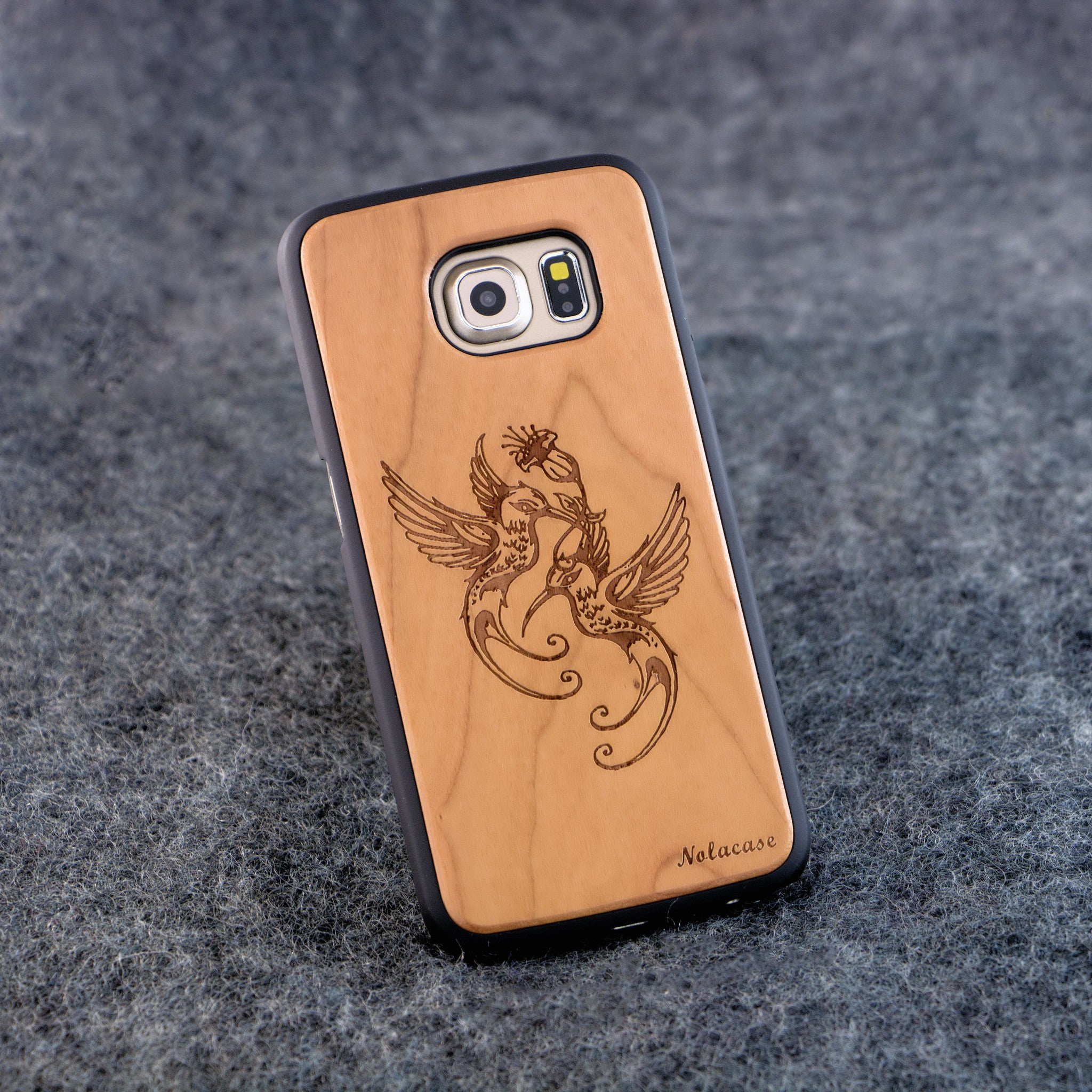 Samsung S6 Edge Humming Birds Wood Case - NOLACASE