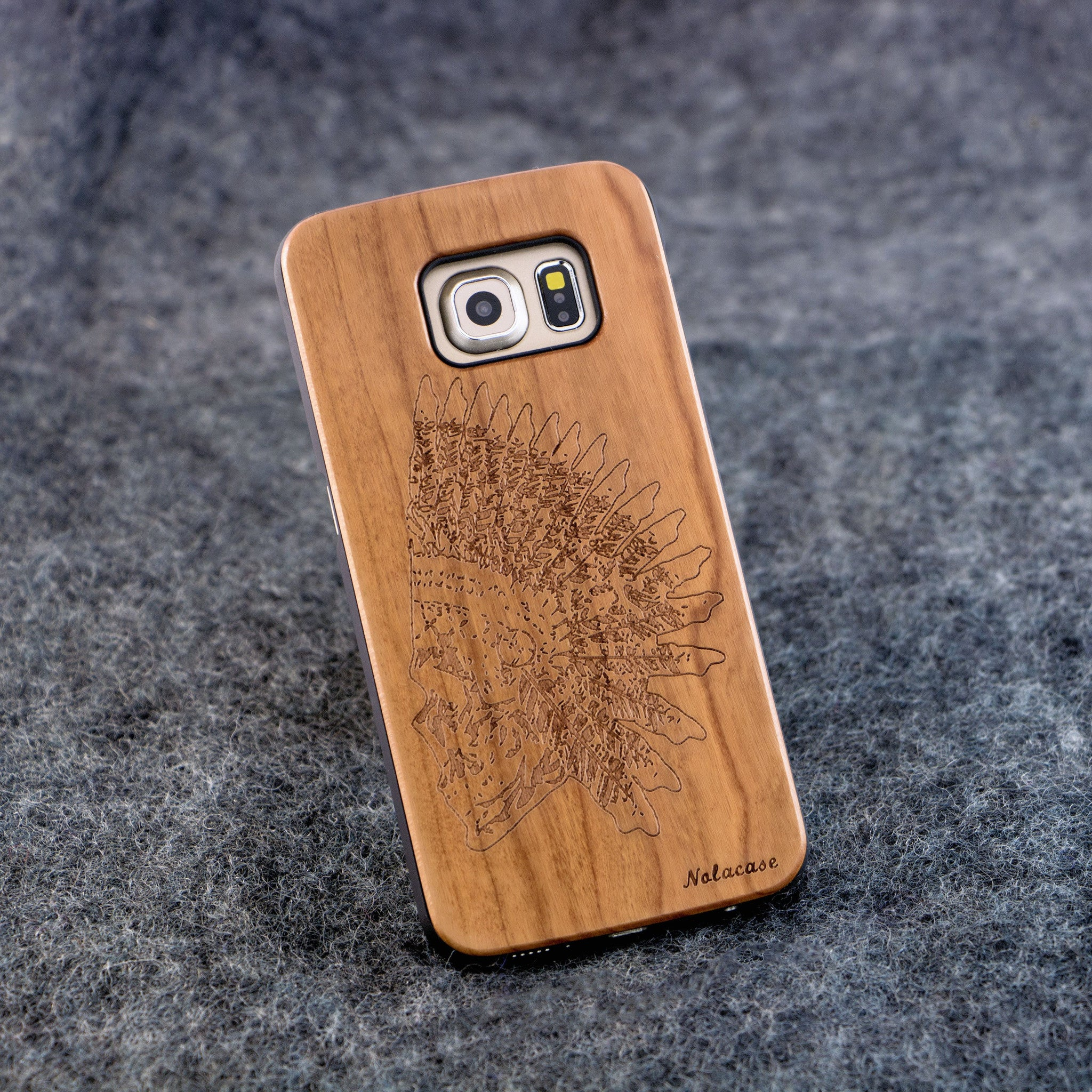 Samsung S6 Edge Indian Skull Slim Wood Case - NOLACASE