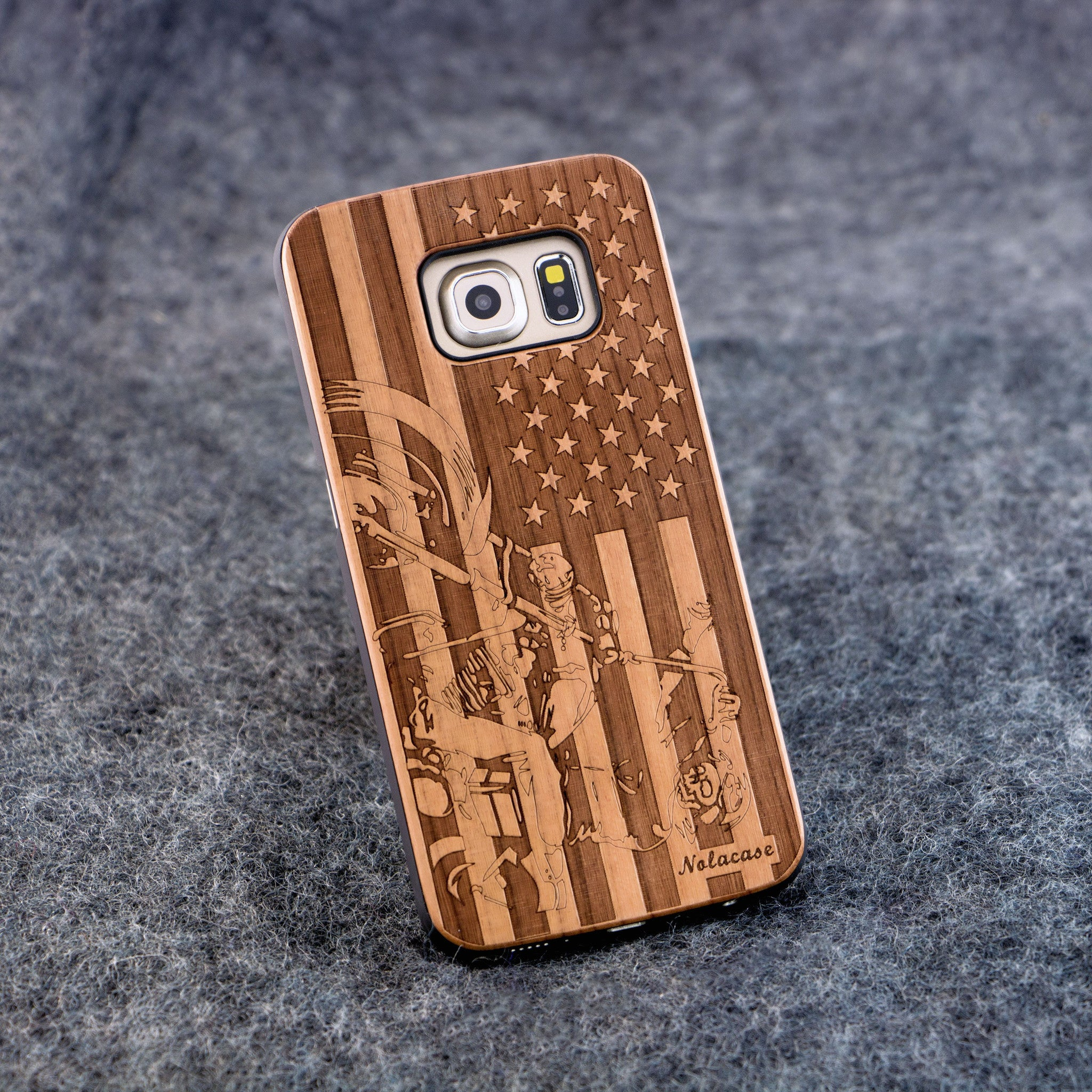 Samsung S6 Edge USA Flag with Motorcycle Wood Case - NOLACASE