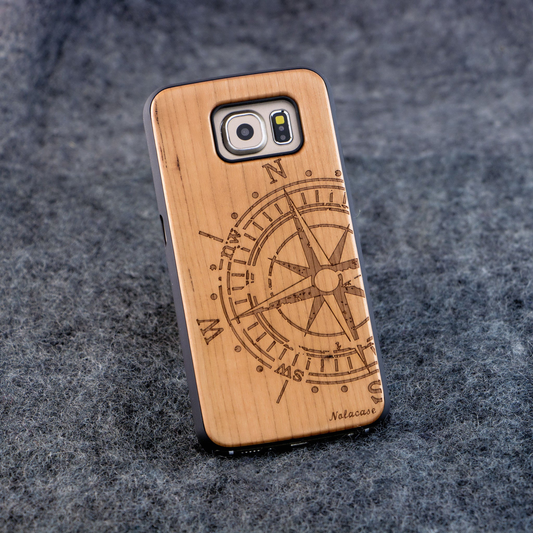 Samsung S6 Big Compass Slim Wood Case - NOLACASE