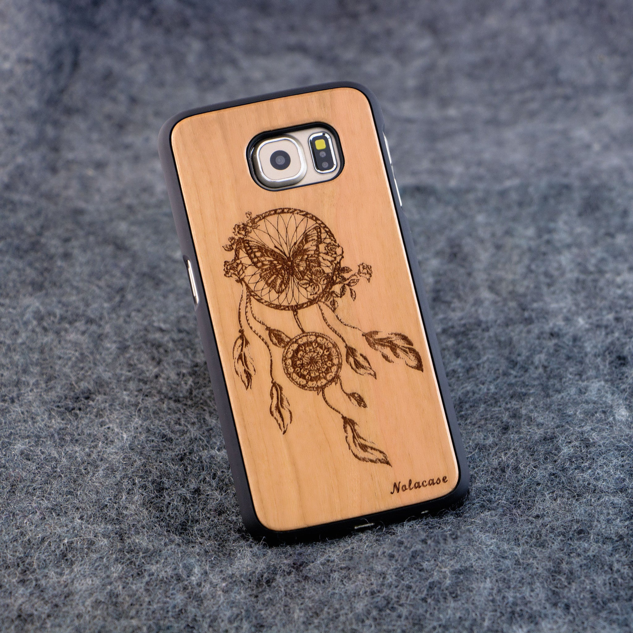 Samsung S6 Dream Catcher with Butterfly Slim Wood Case - NOLACASE