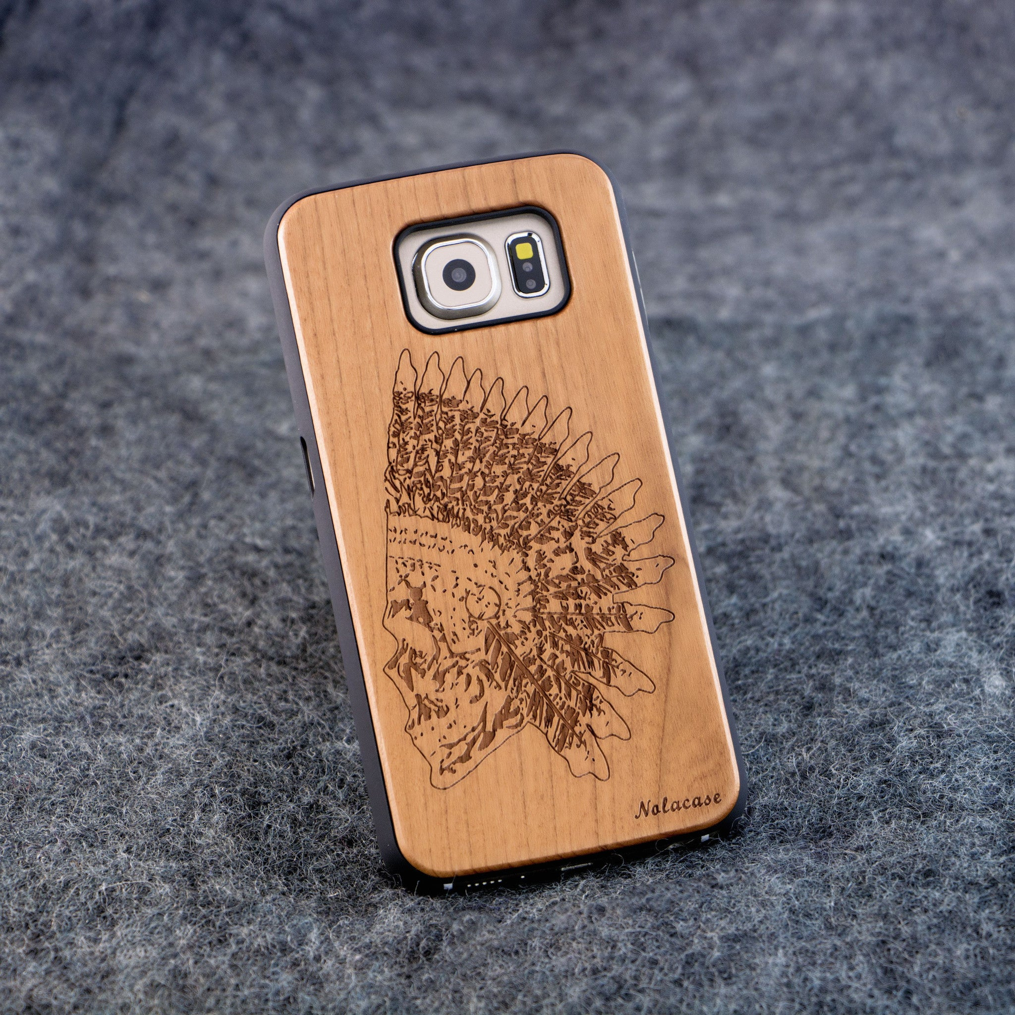 Samsung S6 Indian Skull Slim Wood Case - NOLACASE