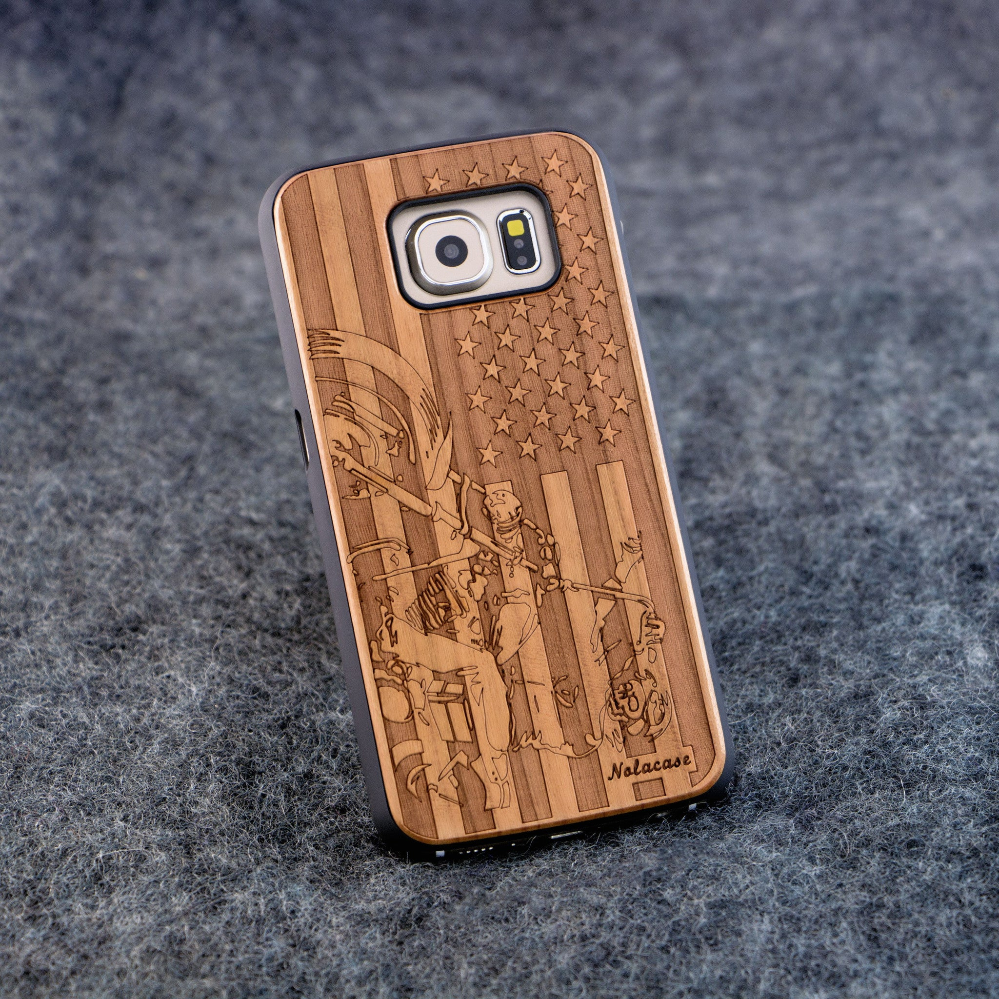 Samsung S6 USA Flag with Motorcycle Slim Wood Case - NOLACASE