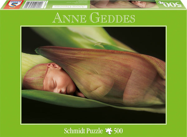 Puzle, 500 - Anne Geddes: Baby Sleeping on Red Lily
