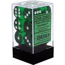 Dice Set Trans 16mm Green/White D6 (12)