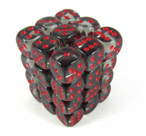 Dice Set Trans 12mm Smokel/RedD6 (36)