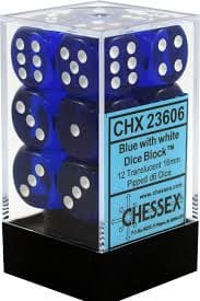 Dice Set Trans 16mm Blue/White D6 (12)