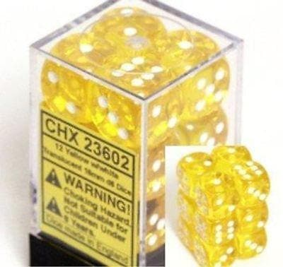 Dice Set Trans 16mm Yellow/White D6 (12)
