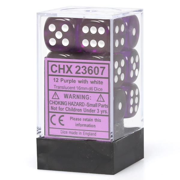 Dice Set Trans 16mm Purple/White D6 (12)
