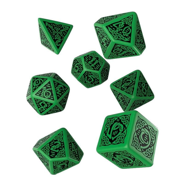 Q-Workshop Celtic Green dice w. black ink